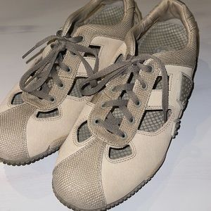Women's Merrell Relay Skip Canvas Leather Open Hiking Shoes Oyster Grey Size 8.5